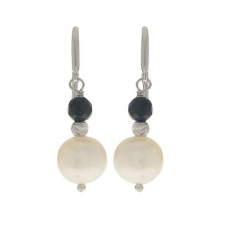 Pearls For You Sterling Silver/White Freshwater Pearl w/Gemstone Earrings