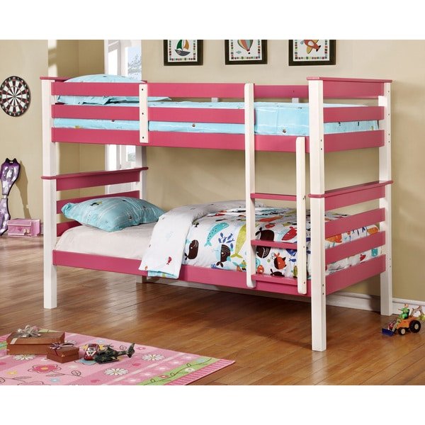 Furniture of America Koso Transitional Pink Solid Wood Bunk Bed