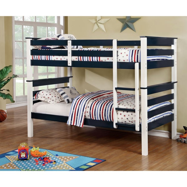 Furniture of America Koso Transitional Blue Solid Wood Bunk Bed