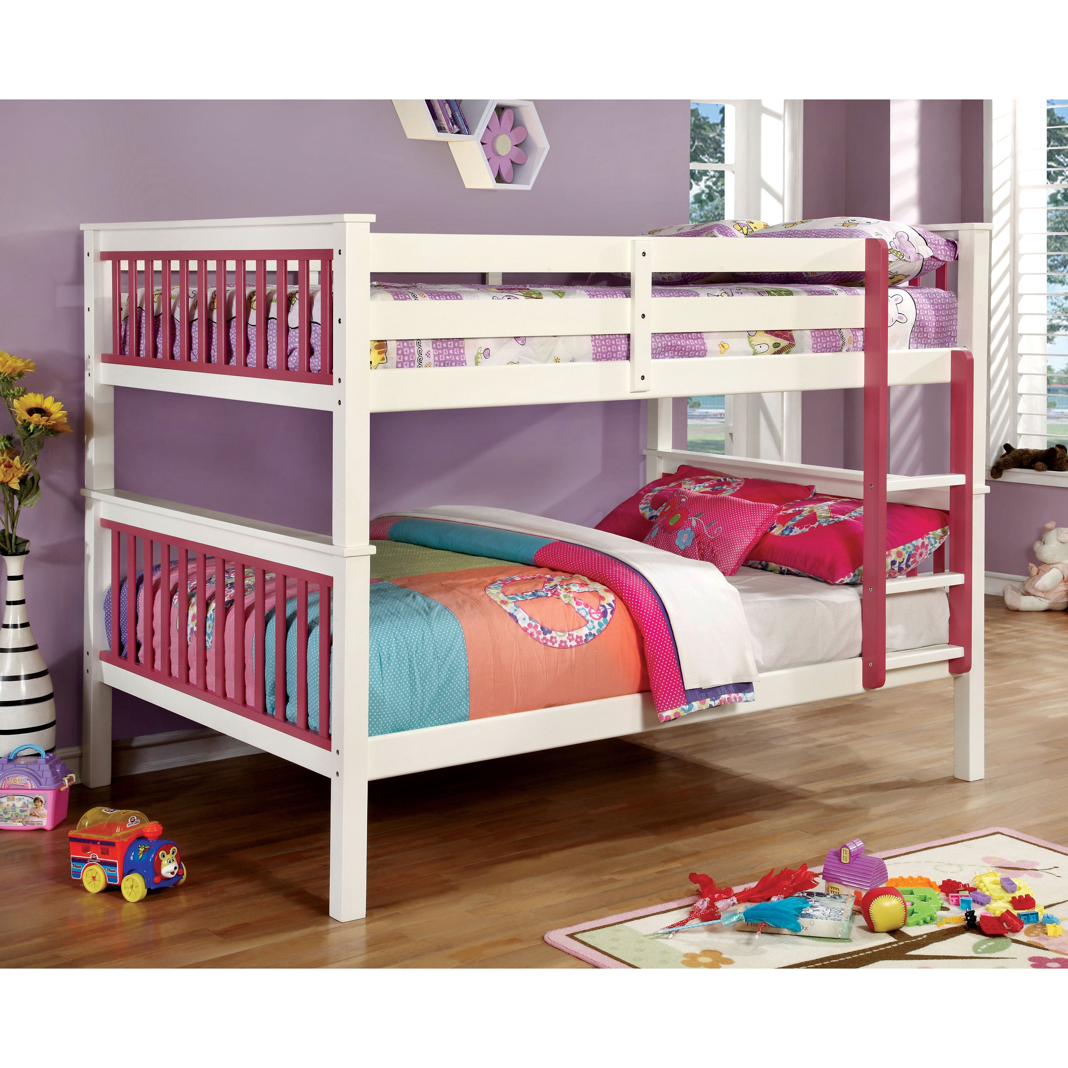 Furniture of America Piers II Two-tone Pink/White Bunk Be...