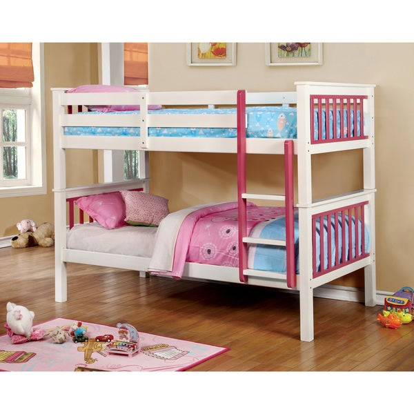 Furniture of America Piers II Two-tone Pink/White Bunk Bed