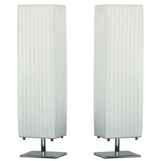 Urban Designs Charlotte White Fabric/Metal Table Lamps (Set of 2)