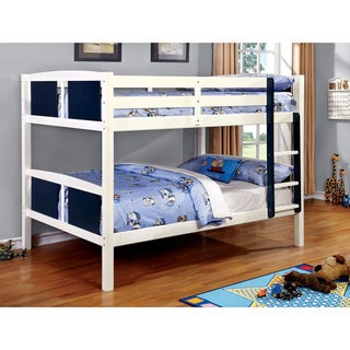 Furniture of America Foso Transitional Blue Solid Wood Bunk Bed