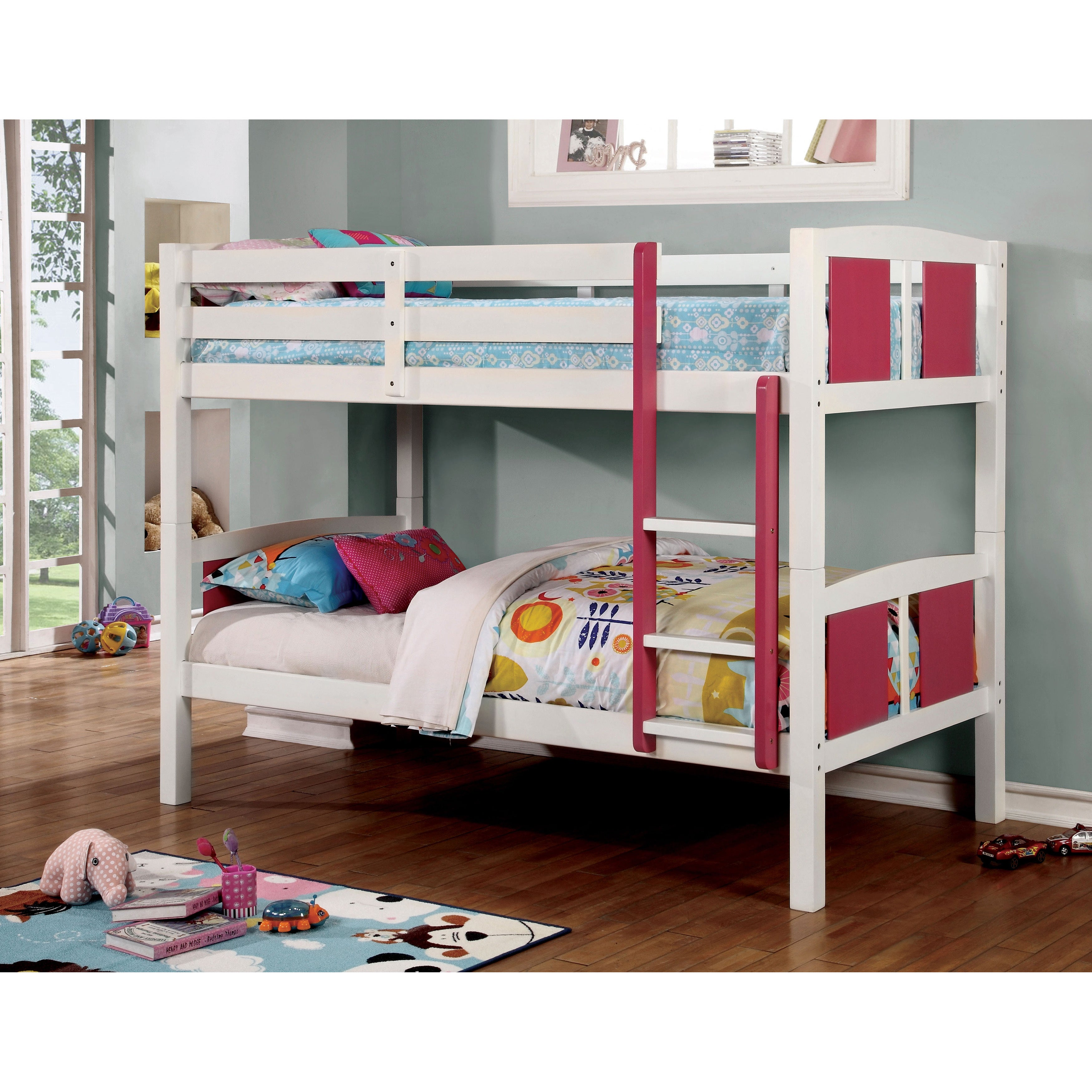 Furniture of America Piers III Two-tone Pink/White Bunk B...