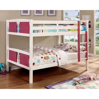 Furniture of America Foso Transitional White Solid Wood Bunk Bed