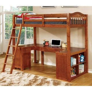 Furniture of America Melvan Country Style Slatted Twin over Workstation Loft Bed