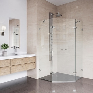 VIGO Gemini 45.625 x 45.625 Frameless Neo-Angle .375-in. Clear Glass/Brushed Nickel Hardware Shower Enclosure with