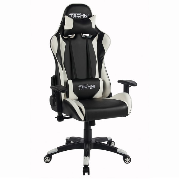 Racer Style Height Adjustable Sport Office PC Gaming Chair White