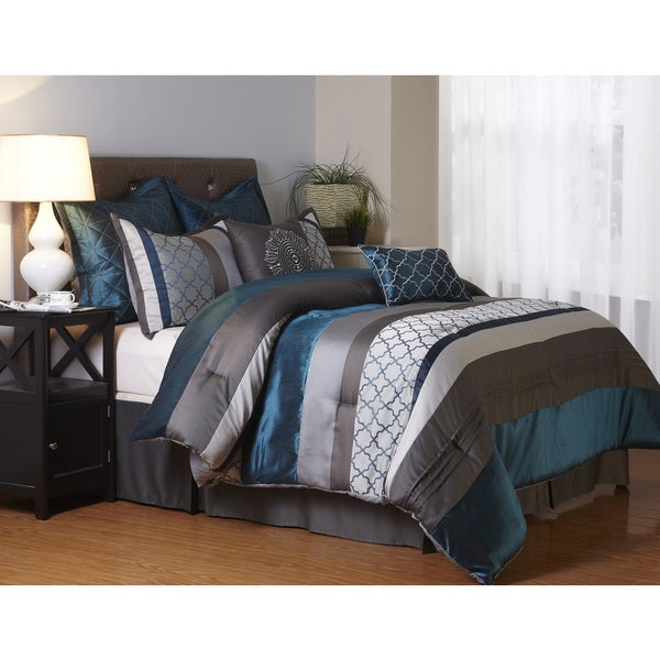 Bedroom Blue Grey Raised Bedroom Bed Plans Small Bedroom Black And White Art On Bedroom Wall: Avalon Grey And Blue 8-Piece Polyester Comforter Set