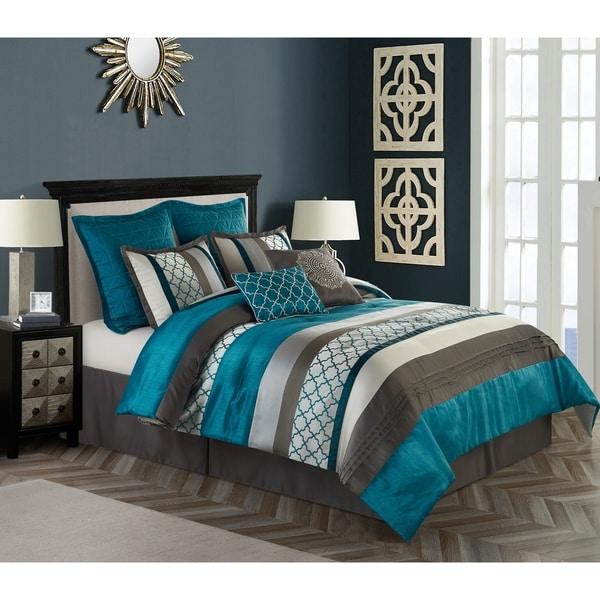 Nanshing Avalon Grey and Blue 8-Piece Polyester Comforter Set