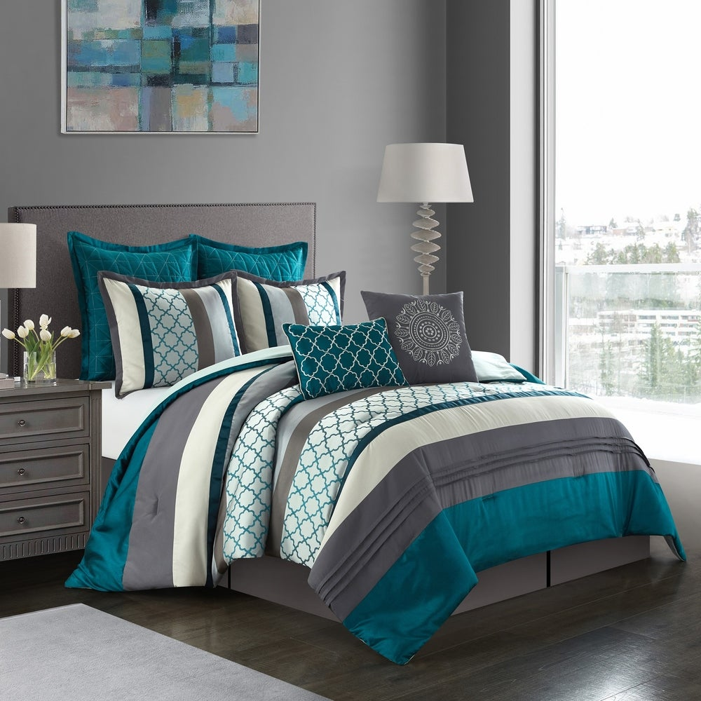 BEAUTIFUL MODERN CHIC PURPLE BLUE TEAL WHITE TROPICAL BOHEMIAN COMFORTER SET