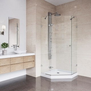 VIGO Verona 42.125 x 42.125 Frameless Neo-Angle .375-in. Clear Glass/Chrome Hardware Shower Enclosure with Low-Profile Base