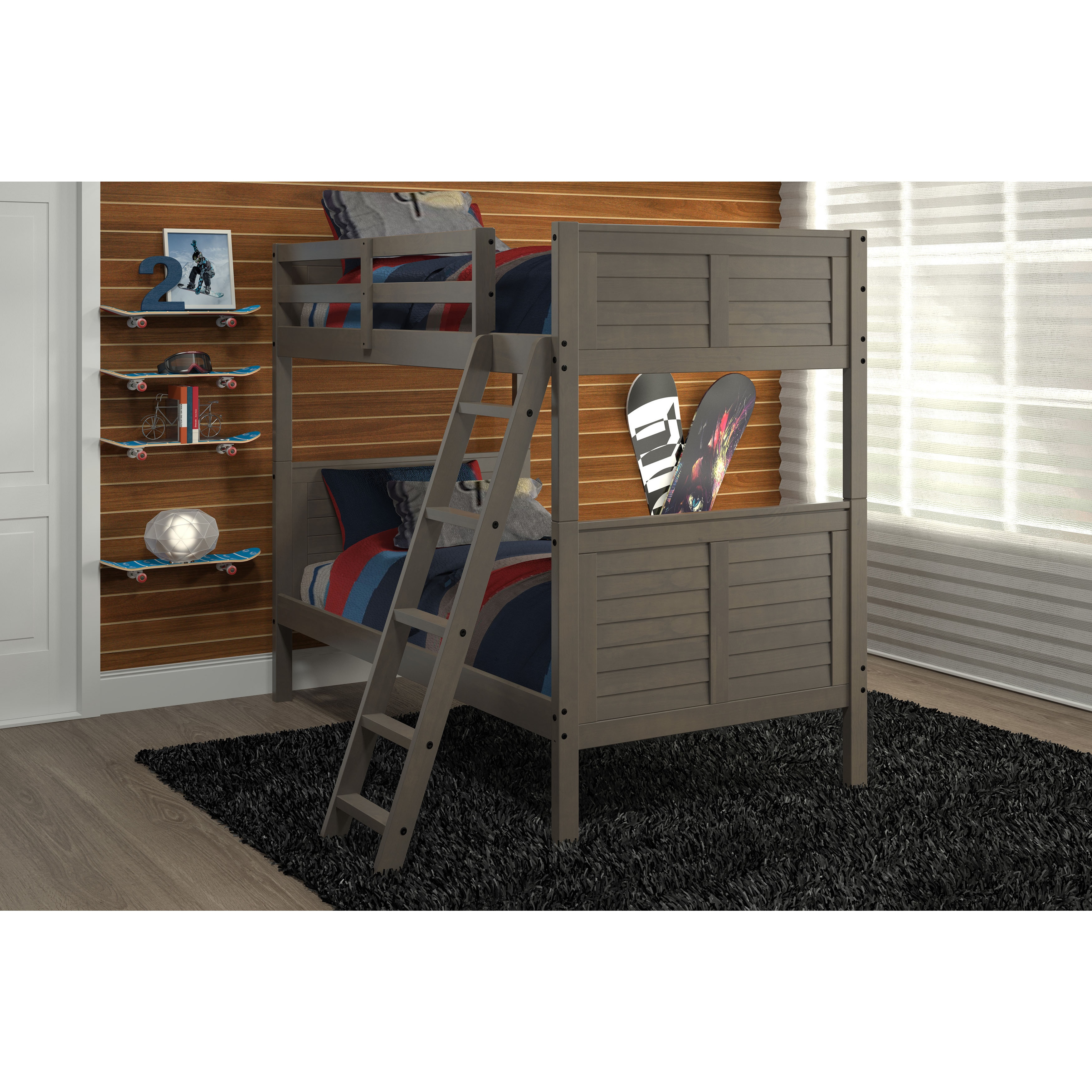Picture of: Pine Ridge Gray Louvered Bunk Bed Overstock 12328423