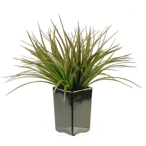 D&W Silks Square Black Ceramic Planter with Grass