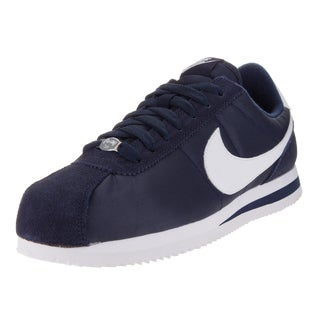 Nike Men's Cortez Basic Nylon Obsidian/White/Metallic Silver Casual Shoe