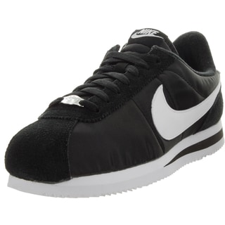 Nike Men's Cortez Basic Nylon Black/White/Metallic Silver Casual Shoe