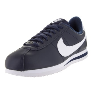 Nike Men's Cortez Basic Leather Obsidian/White/Metsllic Silver Casual Shoe