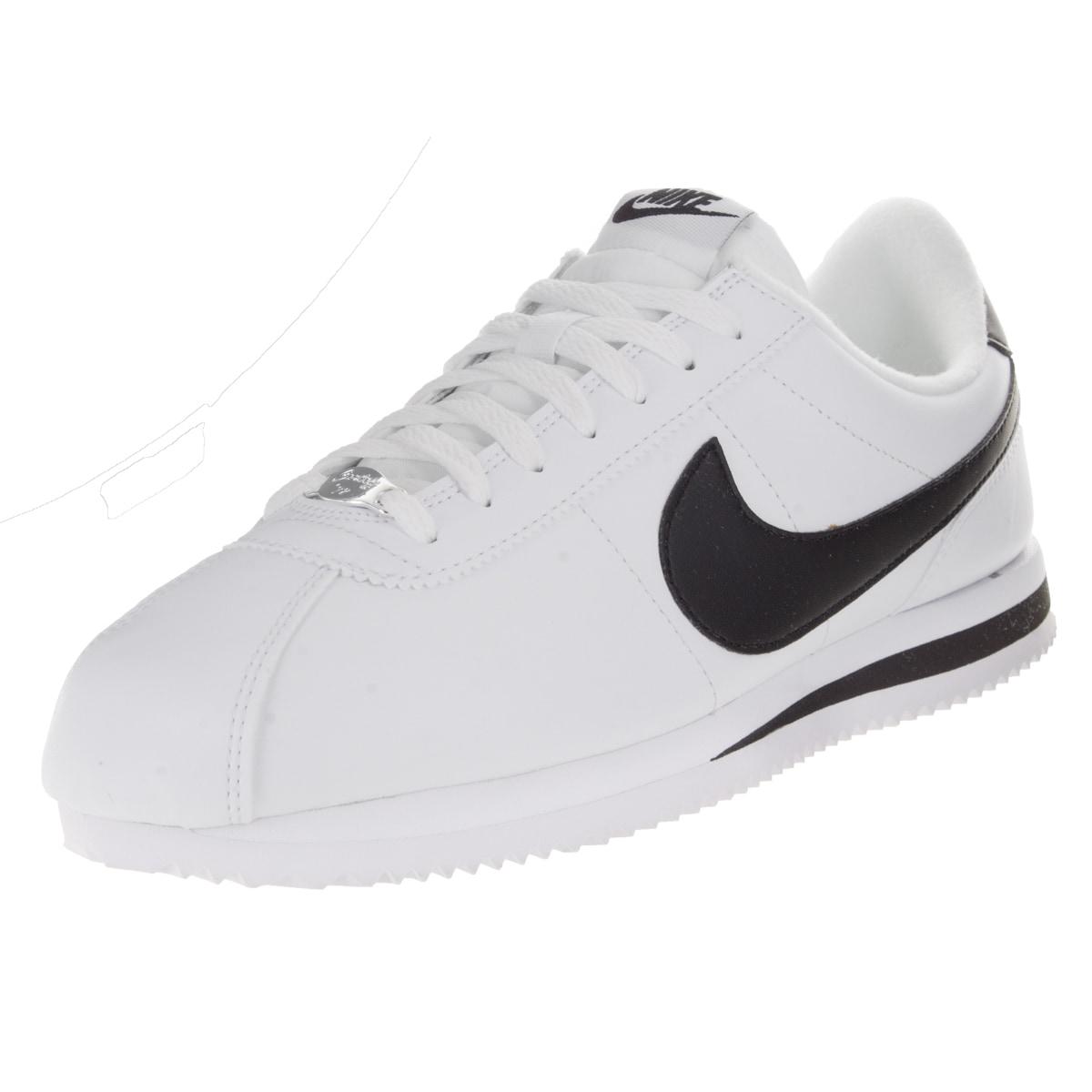 Nike Men's Cortez Basic Leather White/Black/Metallic Silv...