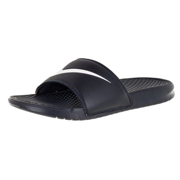 9a772a838cb13b Shop Nike Men s Benassi Swoosh Obsidian White Sandal 9 Men s Us ...
