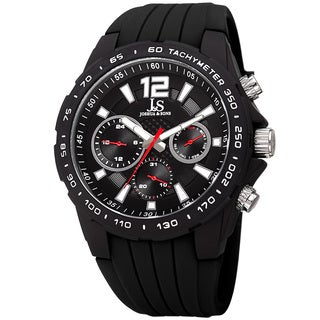 Joshua & Sone Men's Quartz Multifunction Tachymeter Black Strap Watch