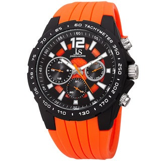 Joshua & Sone Men's Quartz Multifunction Tachymeter Orange Strap Watch
