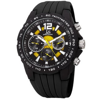 Joshua & Sone Men's Quartz Multifunction Tachymeter Yellow Strap Watch