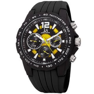 Joshua & Sone Men's Quartz Multifunction Tachymeter Yellow Strap Watch with FREE GIFT|https://ak1.ostkcdn.com/images/products/12328904/P19160535.jpg?impolicy=medium