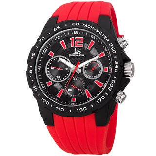 Joshua & Sone Men's Quartz Multifunction Tachymeter Red Strap Watch