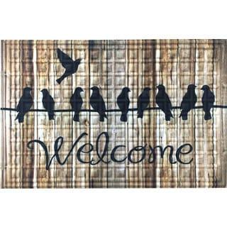 Oakland Collection Birdline Wood Welcome 20-inch x 30-inch Nonslip Indoor/Outdoor Doormat