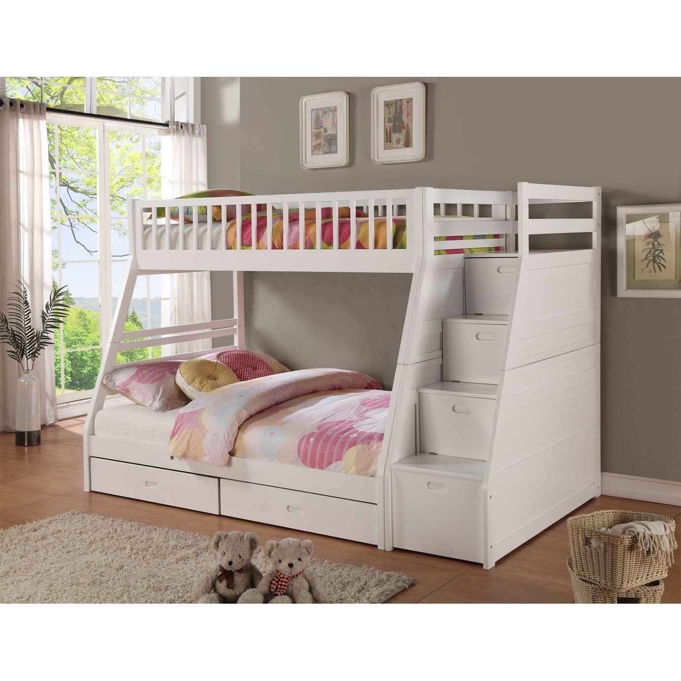 Lyke Home Mercedes Twin Over Full Staircase Bunk Bed (Whi...