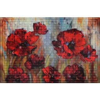 Oakland Collection Painterly Poppies Non-slip Indoor/Outdoor Doormat (2' W x 3' L)