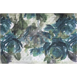 Oakland Collection Blue Blooms Nonslip Indoor/Outdoor Doormat (24 inches x 36 inches)