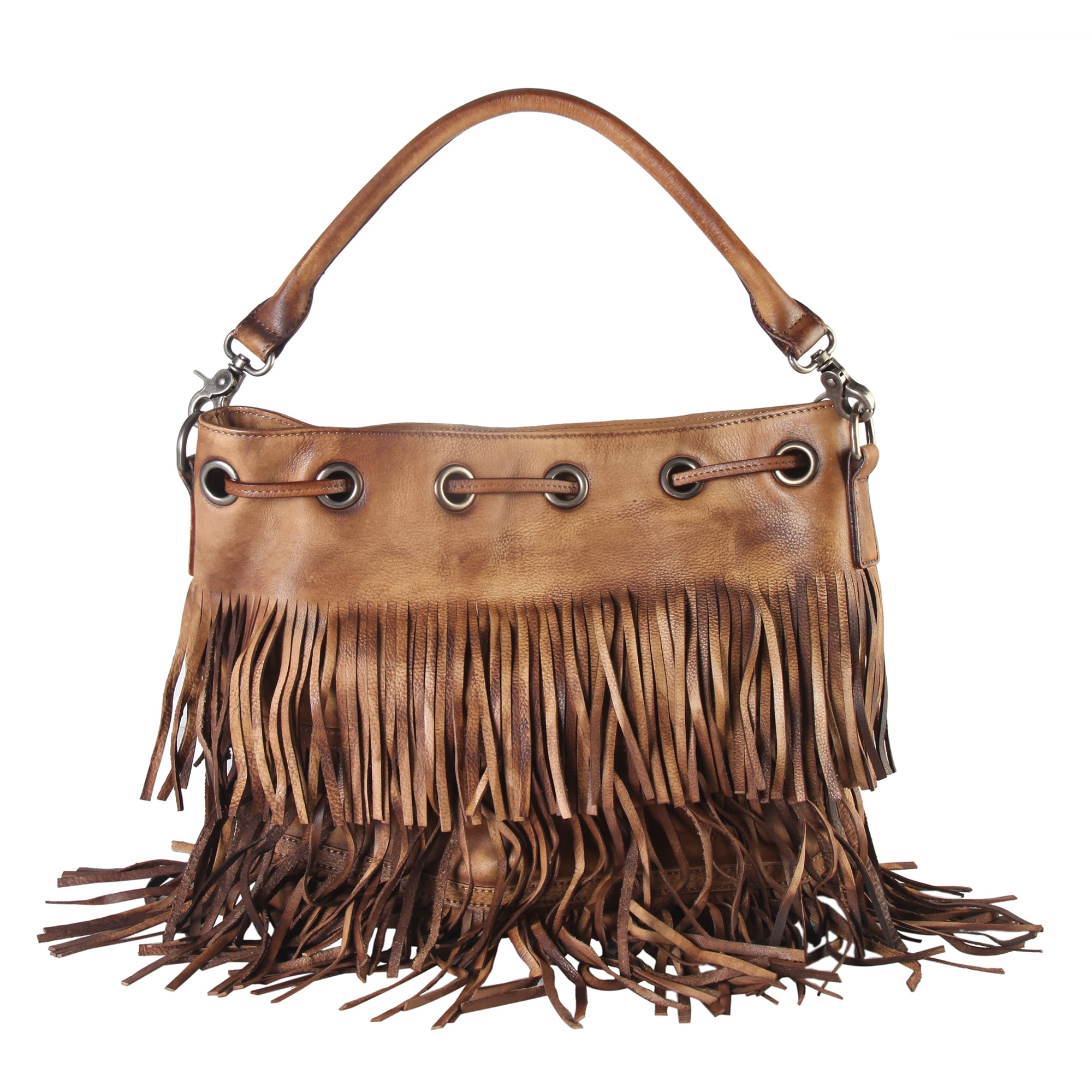 986ea1848261 Diophy Genuine Leather Fringe Style Drawstring Large Tote Bag