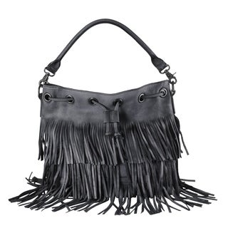 Diophy Genuine Leather Fringe Style Drawstring Large Tote Bag