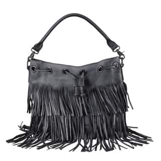 Diophy Genuine Leather Fringe Style Drawstring Large Tote Bag|https://ak1.ostkcdn.com/images/products/12329320/P19160795.jpg?impolicy=medium