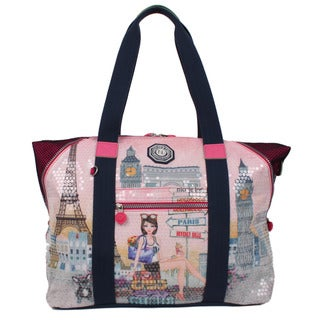 Nicole Lee Hailee Chloe Nylon Print Overnighter Tote Bag