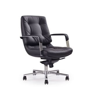 Princeton Black Faux Leather and Chrome Low-back Office Chair