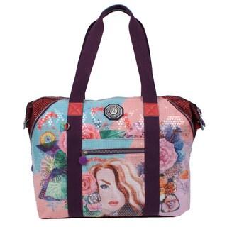 Nicole Lee Hailee Gemma Sequine Crinkled Nylon Print Wrinkle-Resistent Overnighter Tote Bag
