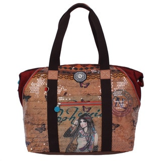 Nicole Lee Hailee Trinity Nylon Sequined Wrinkle Resistant Crinkled Print Overnighter Tote Bag