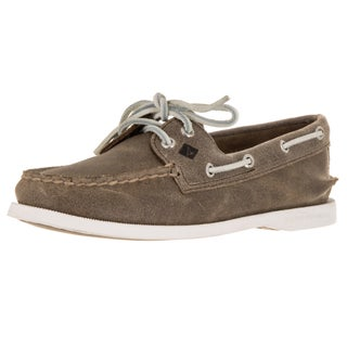 Sperry Top-Sider Women's A/O 2-Eye White Cap Brown Boat Shoe