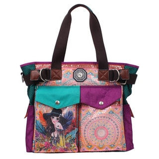 Nicole Lee Hailee Sandra Goes Bohemian Sequined Wrinkle Resistent Crinkled Nylon Print Tote Bag