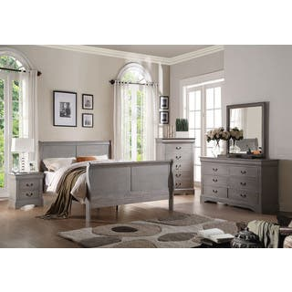 4 piece antique grey bedroom set - Grey Bedroom Furniture Set