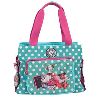 Nicole Lee Cupcake Dog Wrinkle Resistent Crinkled Nylon Print Satchel Handbag