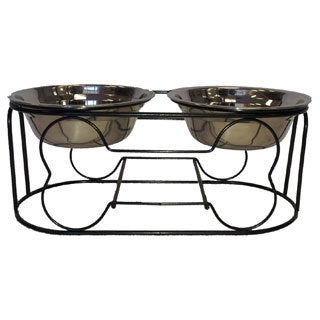 Wrought-iron Pet Feeder Stand with Double Stainless Steel Bowls