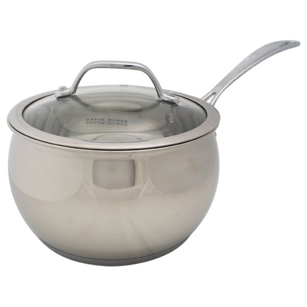 David Burke Gourmet Pro Splendor 3qt Chef Sauce Pan Pot With Lid Stainless Steel
