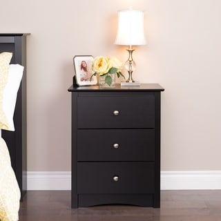Broadway Black 3 Drawer Tall Nightstand