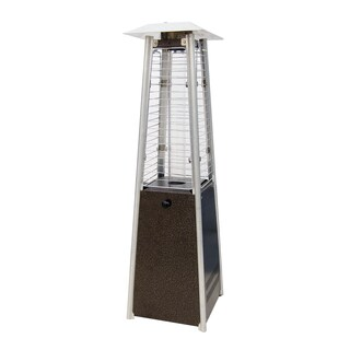 Sunheat Golden Hammered Stainless Steel Contemporary Square Tabletop Patio Heater With Decorative Variable Flame