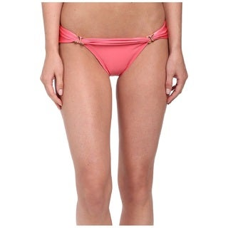 Vix Guava Pink Elastic/Polyamide Teeny Banded Bikini Bottom with Gold Detail