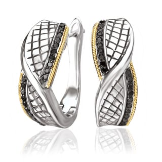 Avanti Sterling Silver and 18K Yellow Gold 1/3 Ct TDW Black Diamond Twist Design Earrings