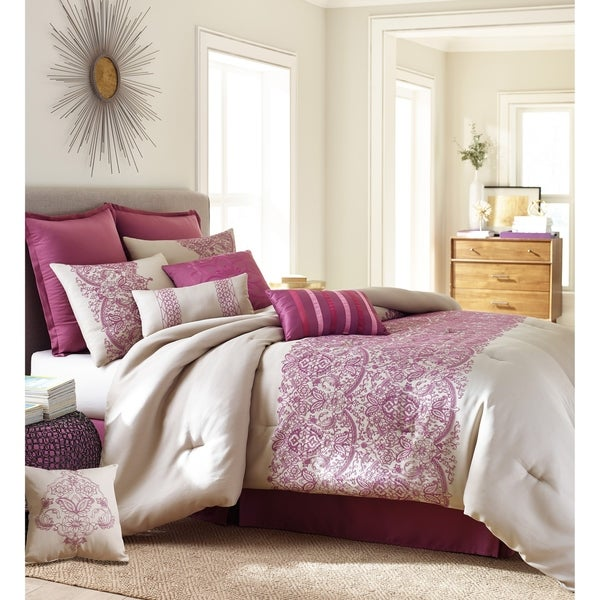 Nanshing Martine 10-piece Pink and White Polyester Comforter Set